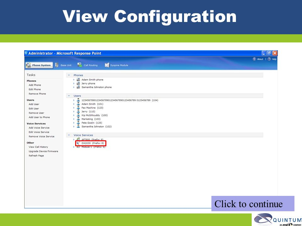 View Configuration Click to continue