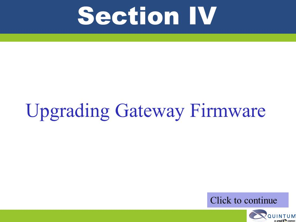 Upgrading Gateway Firmware
