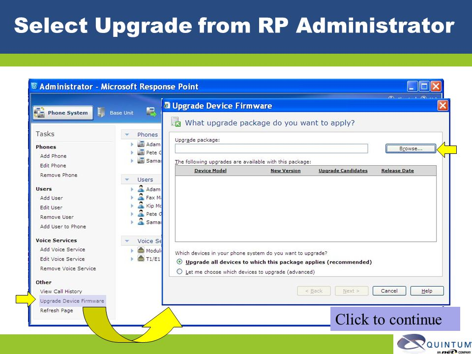 Select Upgrade from RP Administrator