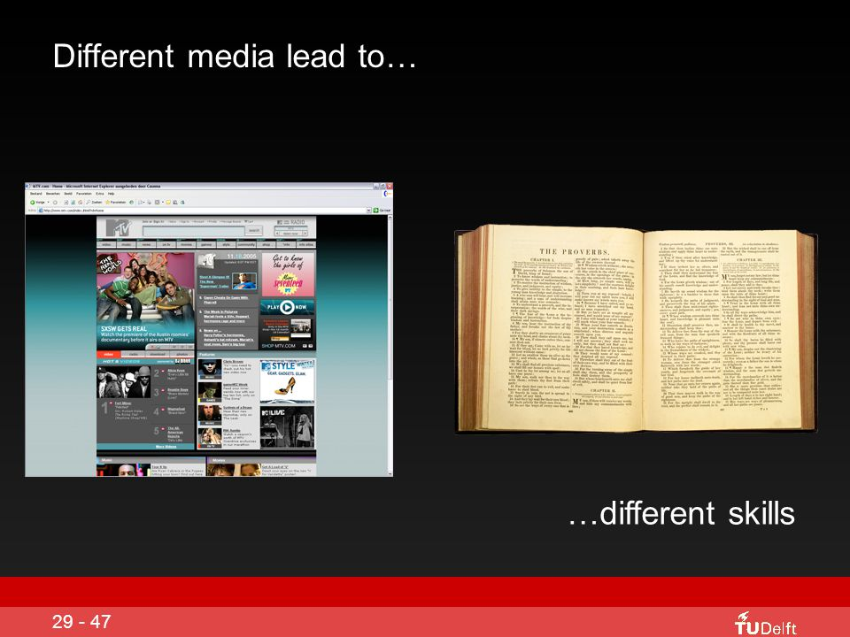 Different media lead to…