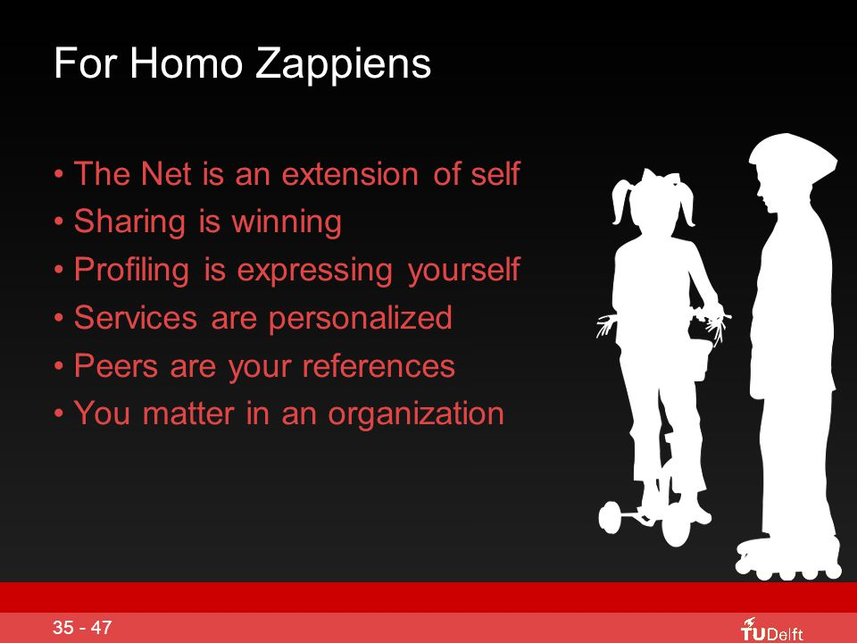 For Homo Zappiens The Net is an extension of self Sharing is winning