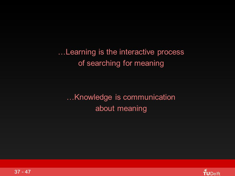 …Learning is the interactive process of searching for meaning