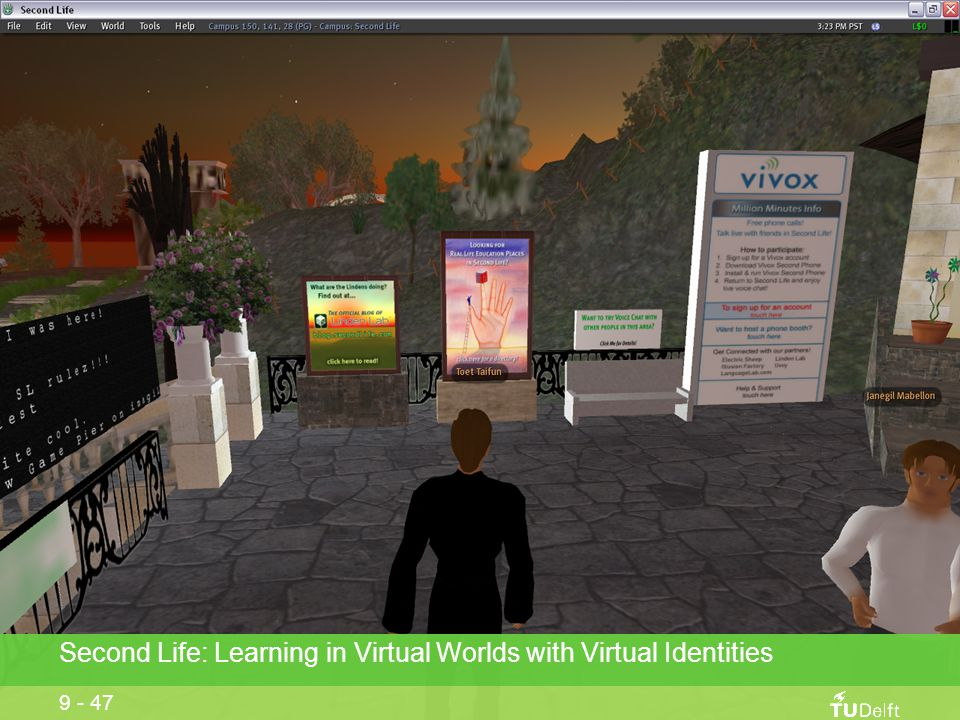 Second Life: Learning in Virtual Worlds with Virtual Identities