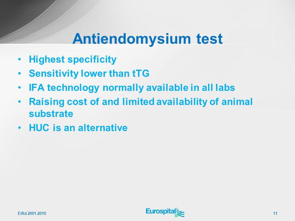 Antiendomysium test Highest specificity Sensitivity lower than tTG