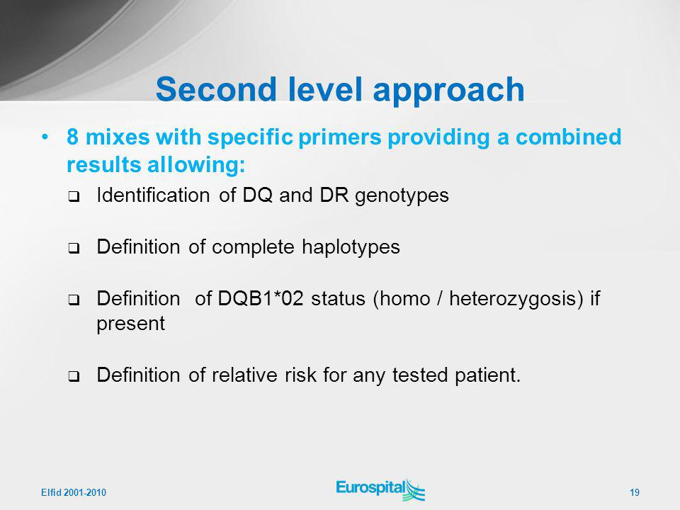 Second level approach 8 mixes with specific primers providing a combined results allowing: Identification of DQ and DR genotypes.