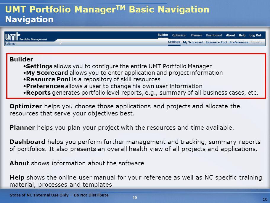 UMT Portfolio ManagerTM Basic Navigation Navigation
