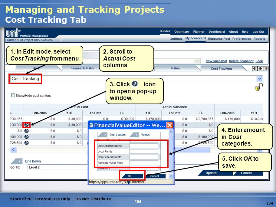 Managing and Tracking Projects Cost Tracking Tab