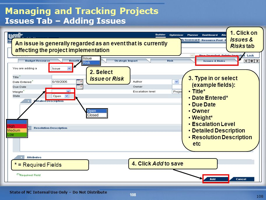 Managing and Tracking Projects Issues Tab – Adding Issues