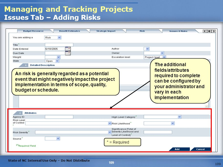 Managing and Tracking Projects Issues Tab – Adding Risks