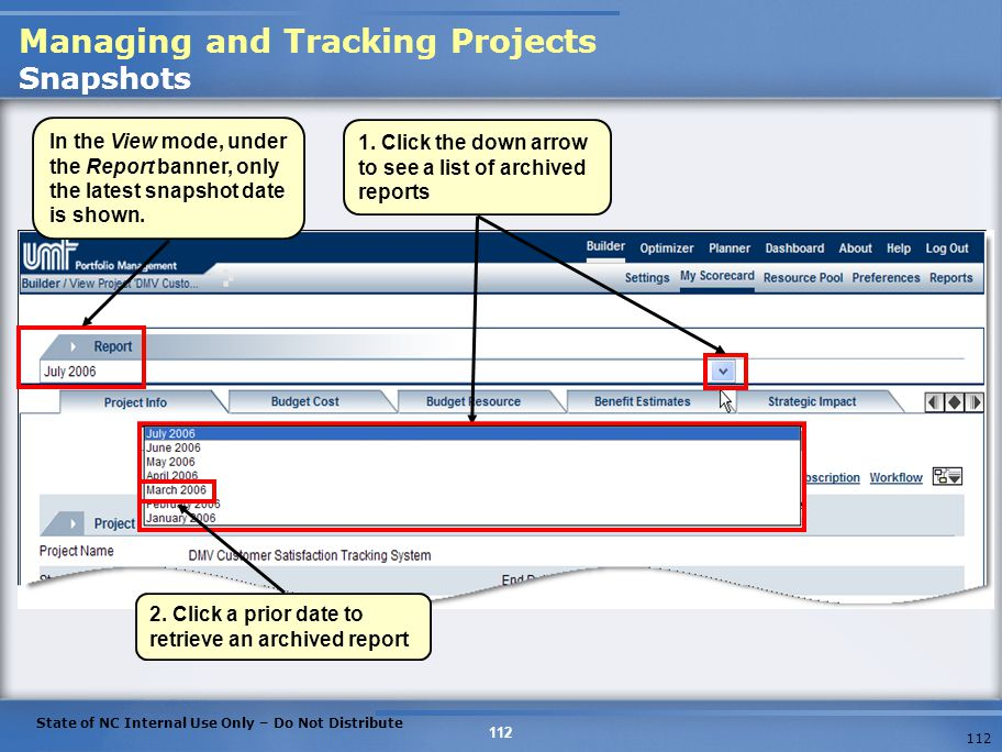 Managing and Tracking Projects Snapshots