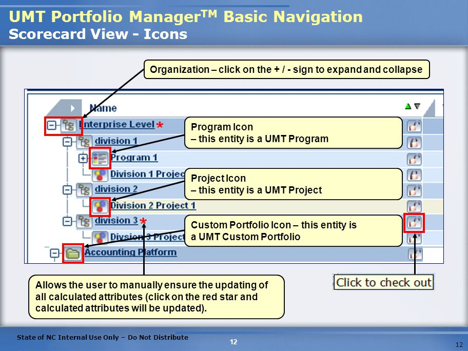 UMT Portfolio ManagerTM Basic Navigation Scorecard View - Icons