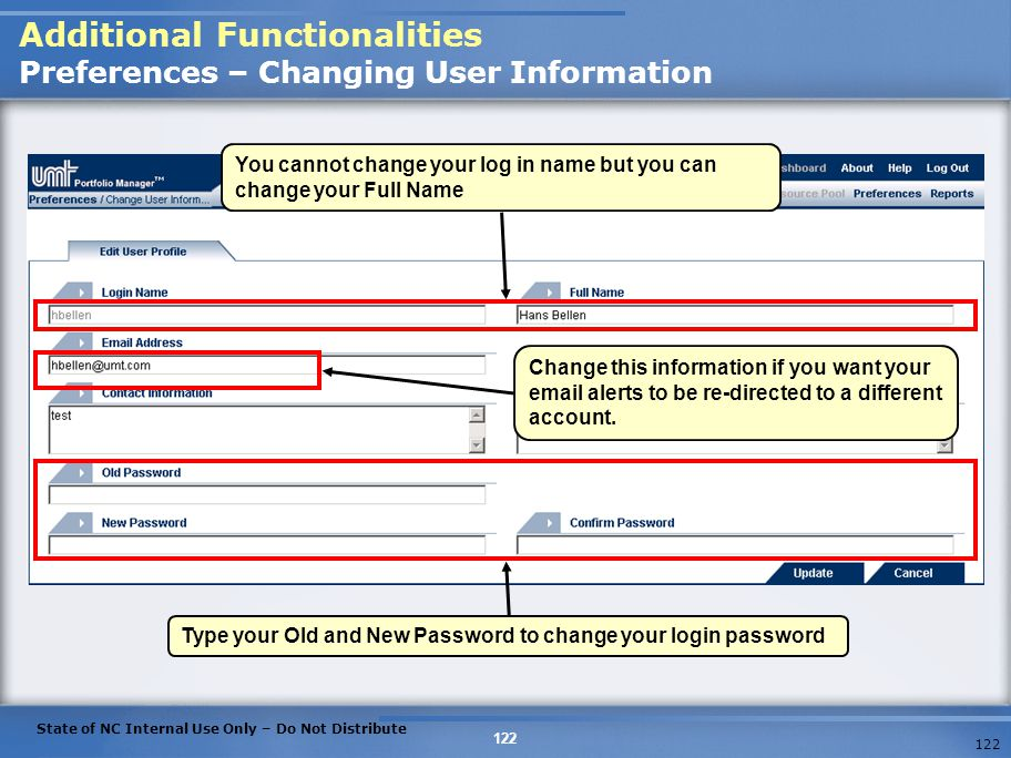 Additional Functionalities Preferences – Changing User Information