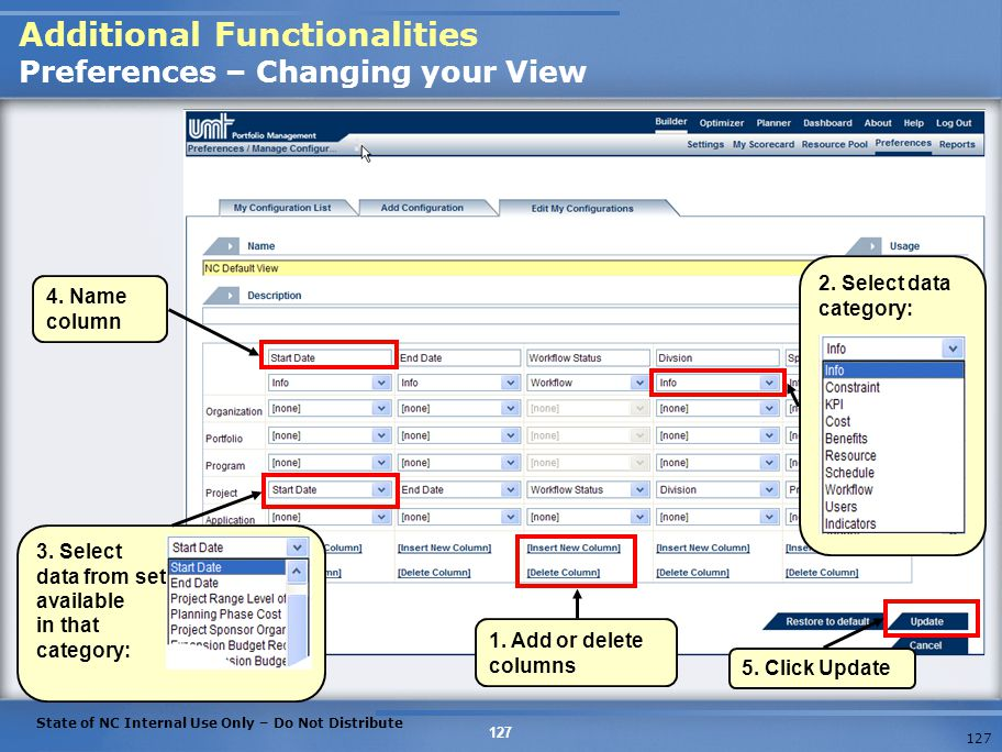 Additional Functionalities Preferences – Changing your View