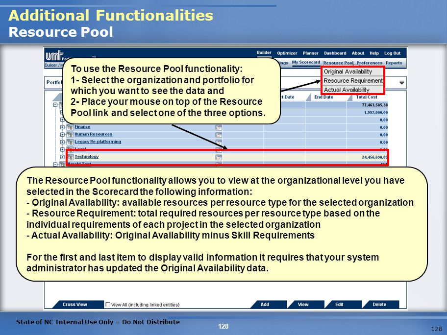Additional Functionalities Resource Pool