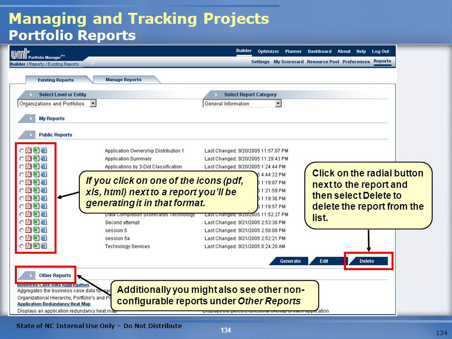 Managing and Tracking Projects Portfolio Reports
