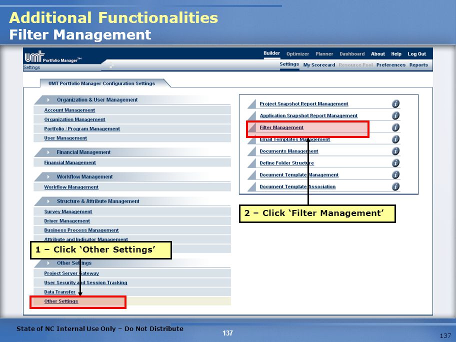 Additional Functionalities Filter Management