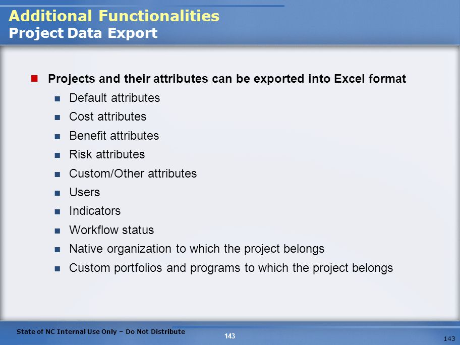 Additional Functionalities Project Data Export