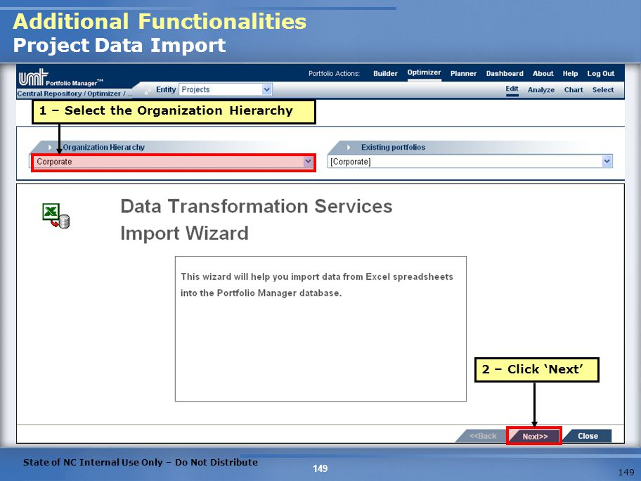 Additional Functionalities Project Data Import