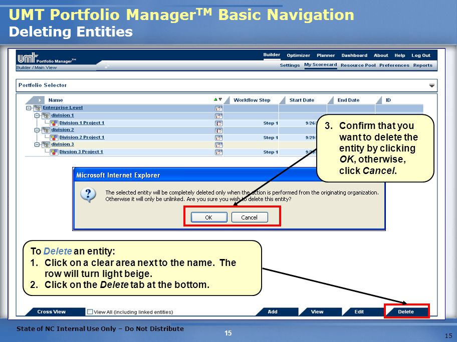 UMT Portfolio ManagerTM Basic Navigation Deleting Entities