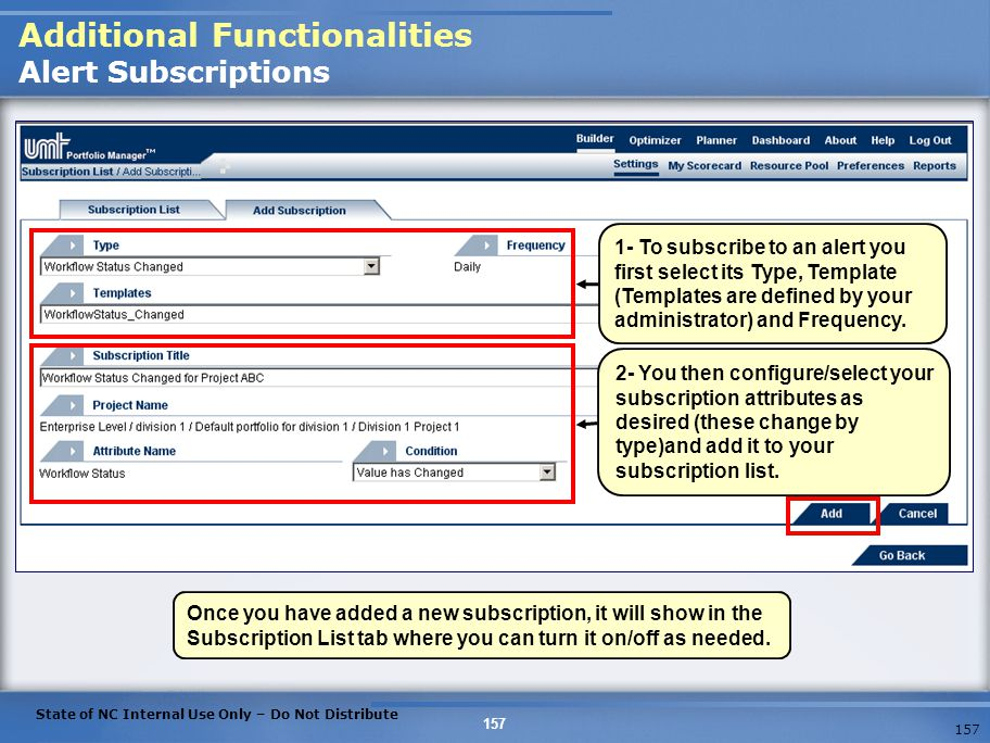 Additional Functionalities Alert Subscriptions