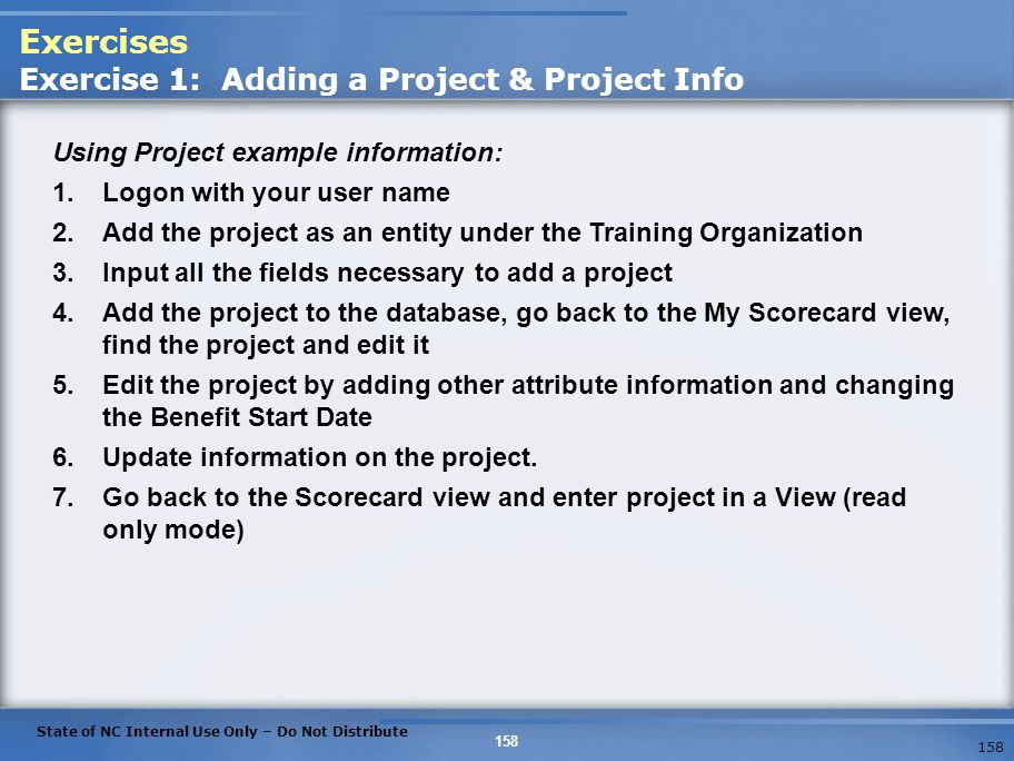 Exercises Exercise 1: Adding a Project & Project Info