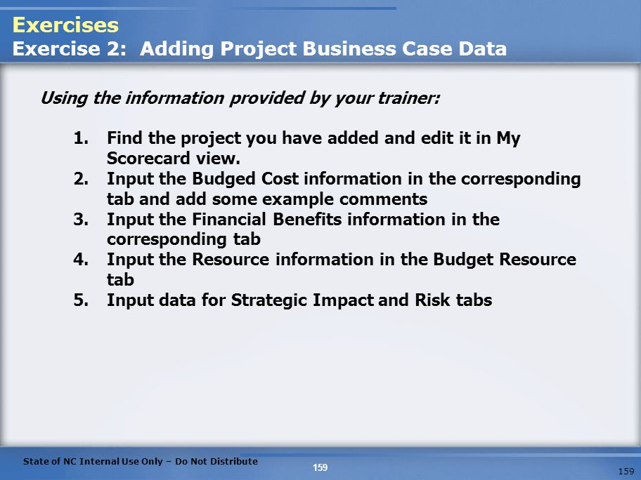 Exercises Exercise 2: Adding Project Business Case Data