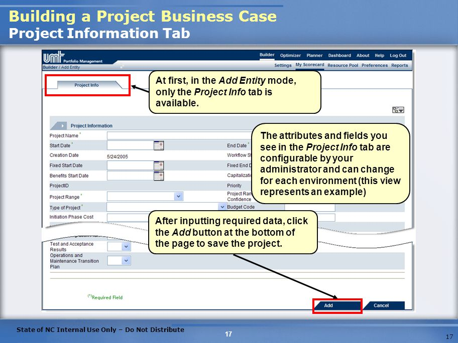 Building a Project Business Case Project Information Tab