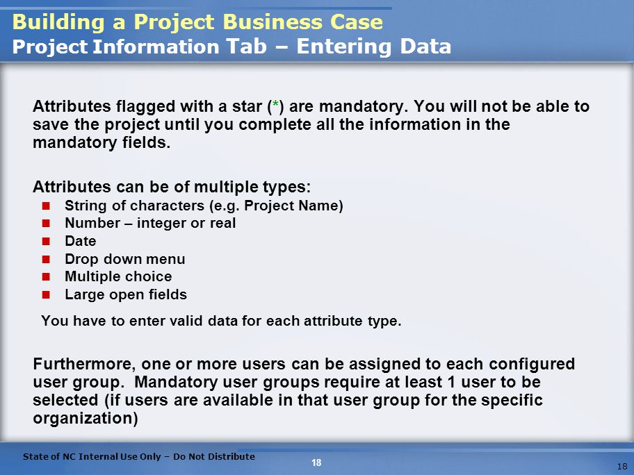 Building a Project Business Case Project Information Tab – Entering Data