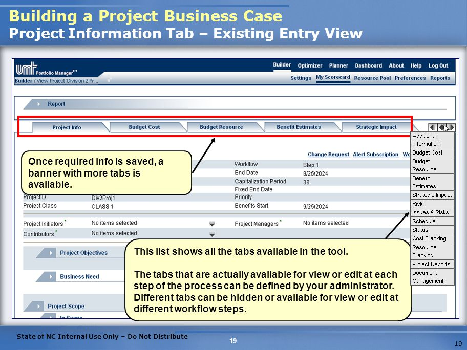 Building a Project Business Case Project Information Tab – Existing Entry View