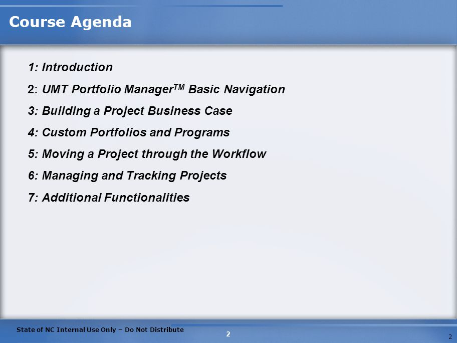 Course Agenda 1: Introduction
