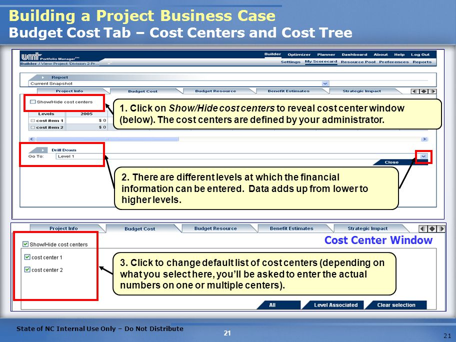 Building a Project Business Case Budget Cost Tab – Cost Centers and Cost Tree
