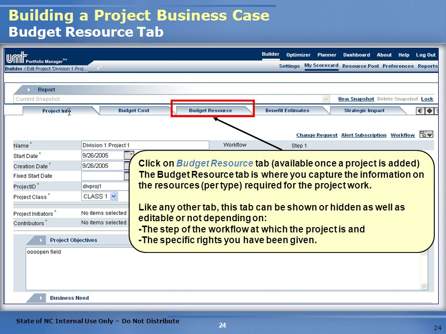 Building a Project Business Case Budget Resource Tab