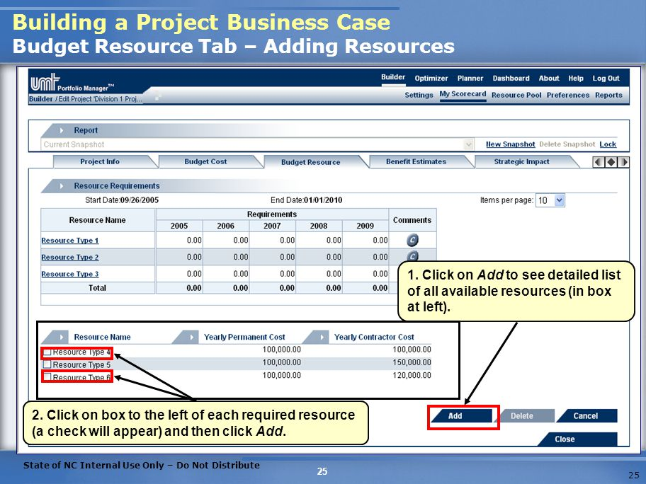 Building a Project Business Case Budget Resource Tab – Adding Resources