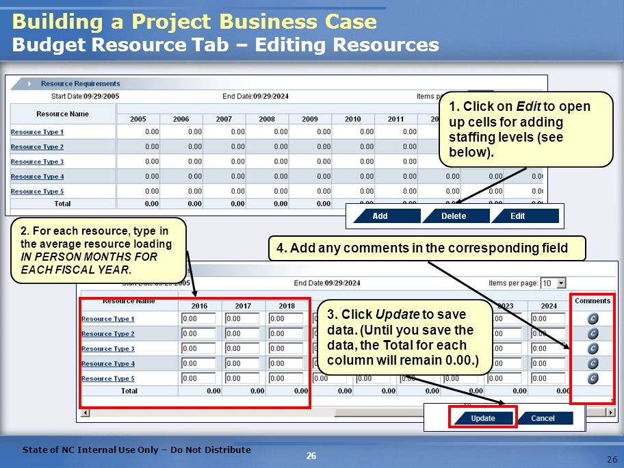 Building a Project Business Case Budget Resource Tab – Editing Resources
