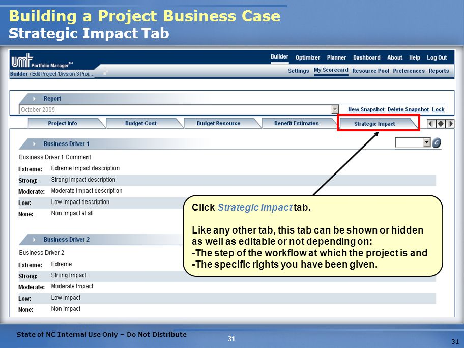 Building a Project Business Case Strategic Impact Tab