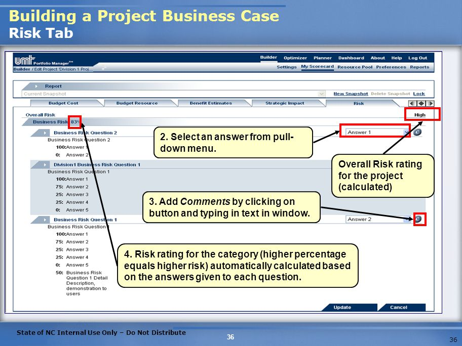 Building a Project Business Case Risk Tab