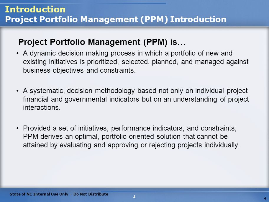 Introduction Project Portfolio Management (PPM) Introduction