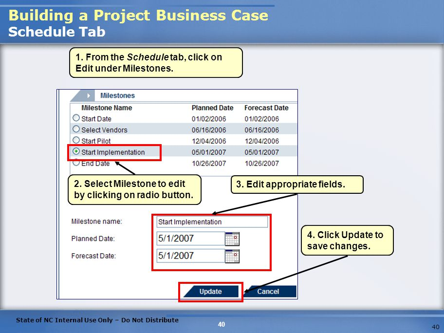 Building a Project Business Case Schedule Tab