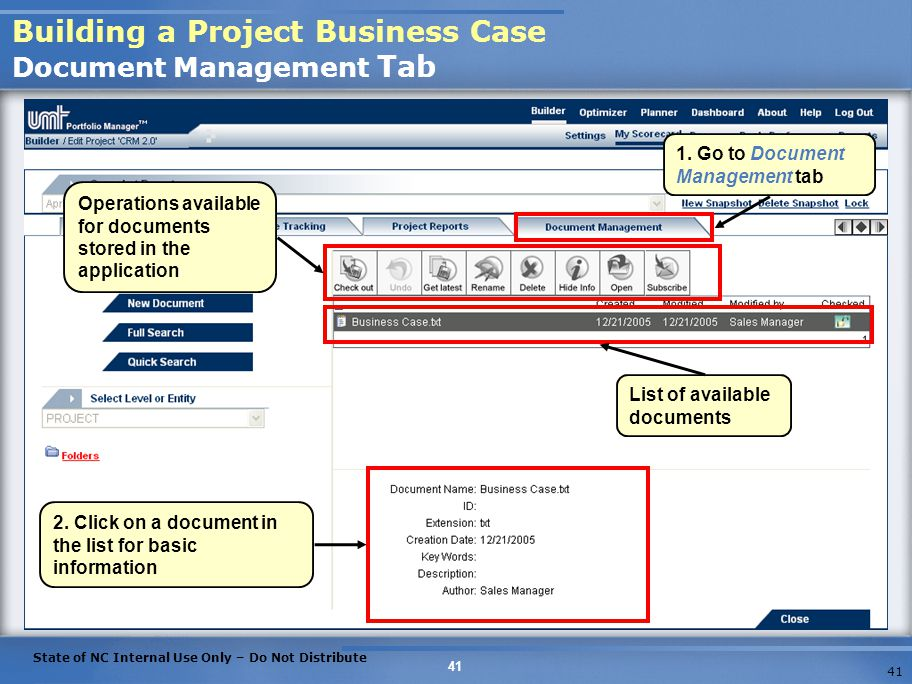 Building a Project Business Case Document Management Tab