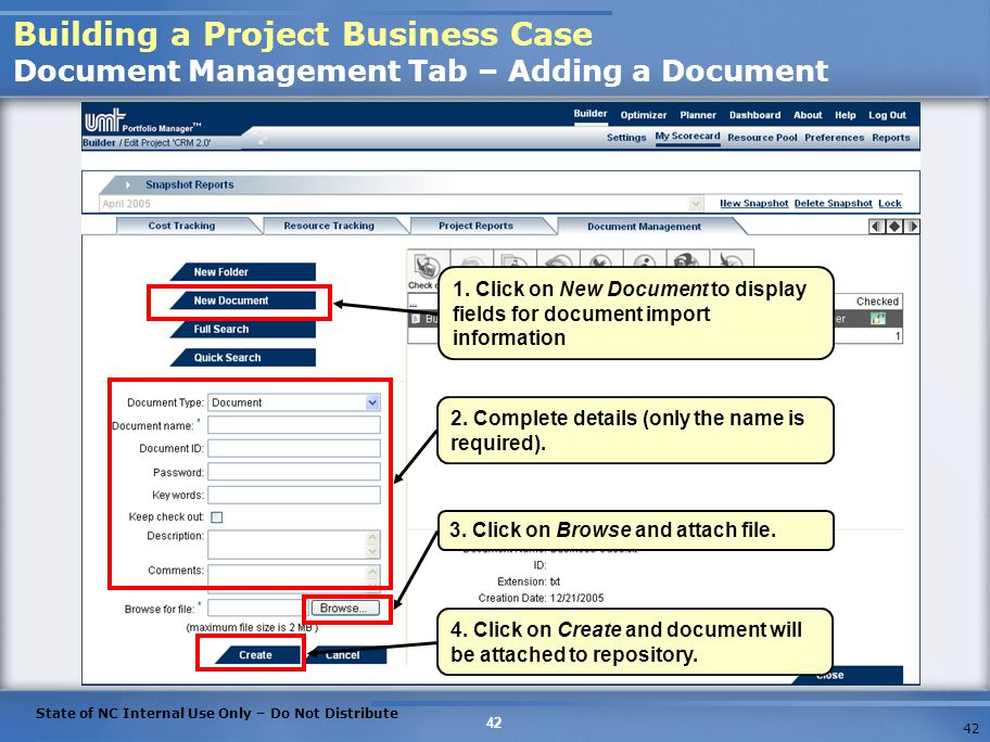 Building a Project Business Case Document Management Tab – Adding a Document