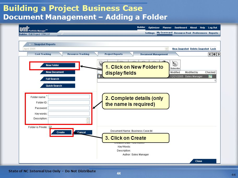 Building a Project Business Case Document Management – Adding a Folder