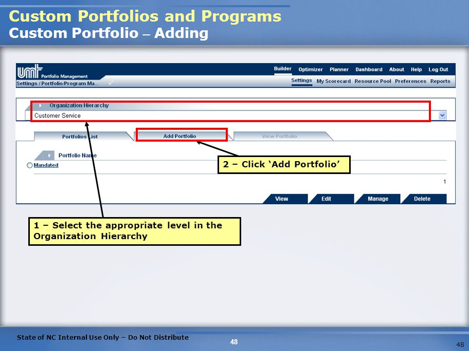 Custom Portfolios and Programs Custom Portfolio – Adding
