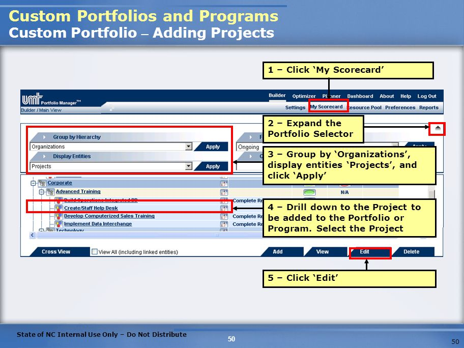 Custom Portfolios and Programs Custom Portfolio – Adding Projects