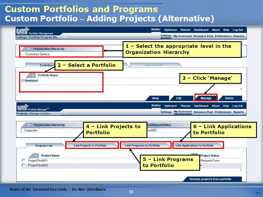 Custom Portfolios and Programs Custom Portfolio – Adding Projects (Alternative)