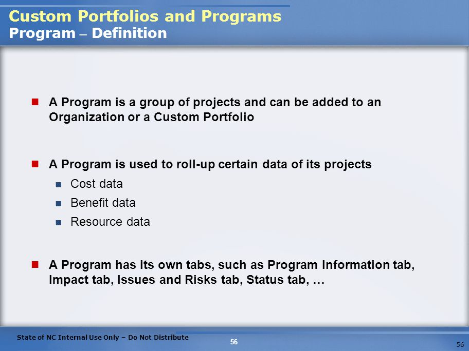 Custom Portfolios and Programs Program – Definition