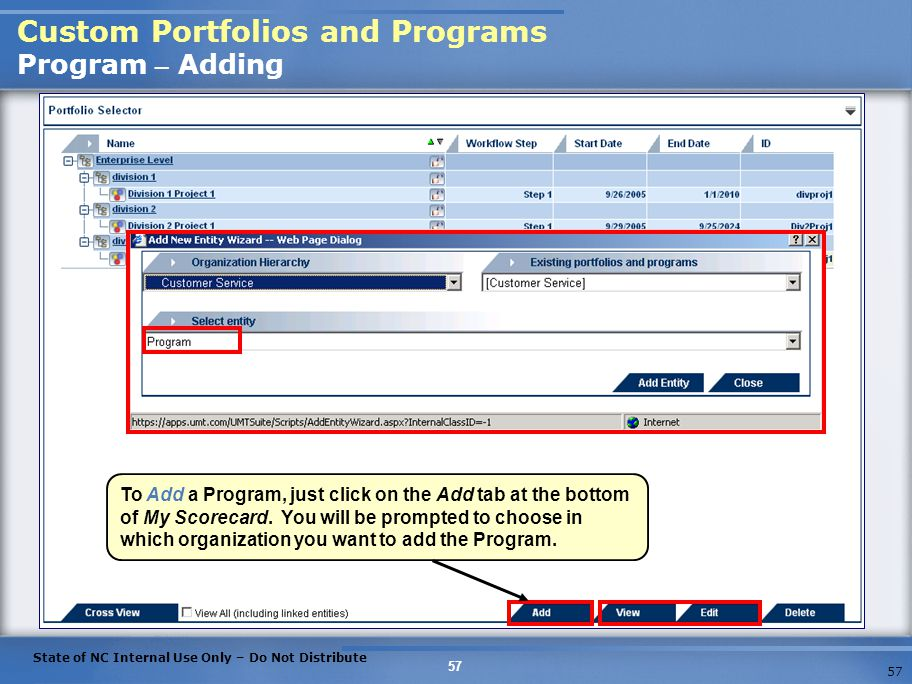 Custom Portfolios and Programs Program – Adding