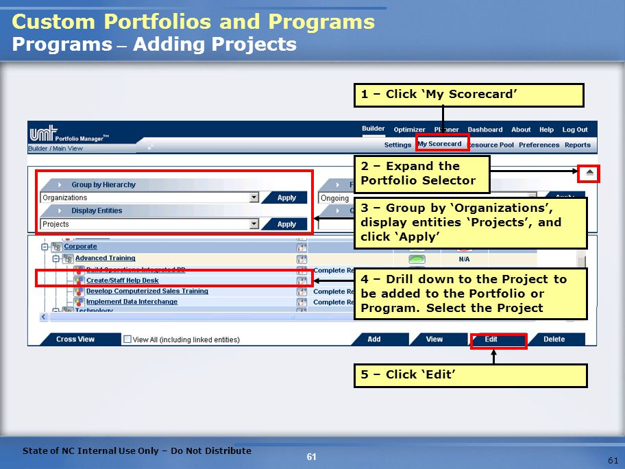Custom Portfolios and Programs Programs – Adding Projects