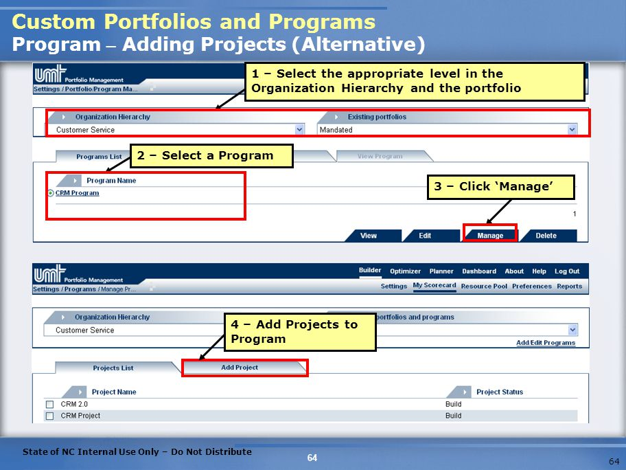 Custom Portfolios and Programs Program – Adding Projects (Alternative)