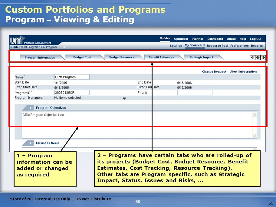 Custom Portfolios and Programs Program – Viewing & Editing