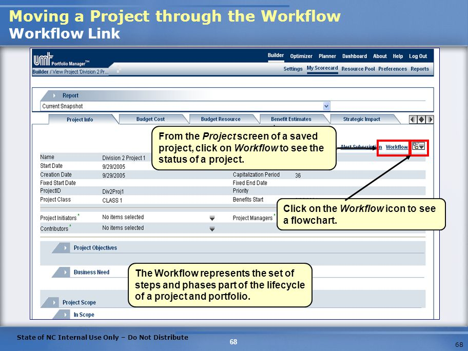 Moving a Project through the Workflow Workflow Link